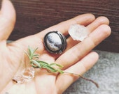 Merlinite with Eagle Feather Ring // adjustable ring / Dendritic Opal ring / white gemstone ring / .925 sterling silver / feather jewelry