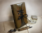 olive leather journal, vintage style old paper, travel brown notebook