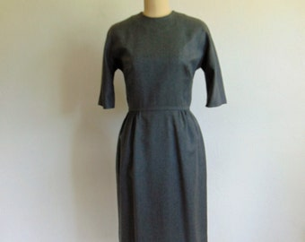 50s gray wool Sexy Librarian day dress size medium Bonwit Teller