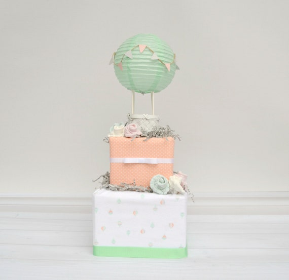 up up and away baby shower diaper cake hot air by babyblossomco. Black Bedroom Furniture Sets. Home Design Ideas