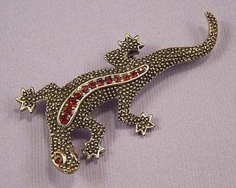 EMMONS  Rhinestone Lizard Brooch / Vintage Emmons Red Rhinestone Lizard Brooch / Emmons Red and Black Lizard Brooch / Emmons Lizard