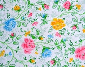 Vintage Bed Sheet - Pink Yellow Blue Vine Roses - Twin Fitted