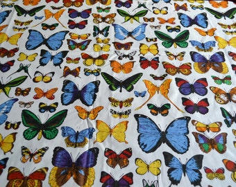 Vintage Fabric - Colorful Butterflies Travis Bloomcraft Upholstery - By the Yard