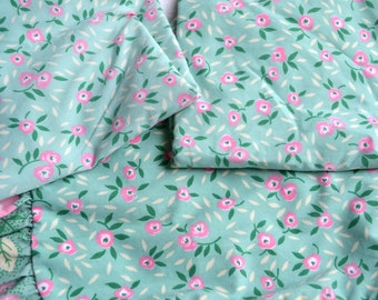 Vintage Pillow Shams - Confection Pink Flowers on Mint Green - 3 Standard Size
