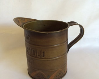 Vintage Hand Painted Tin Pitcher