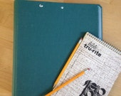 3 ring binder teal green classic canvas cloth linen back to school vintage 2""