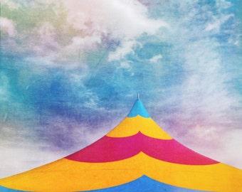 Carnival print, photograph, fair circus tent photo, fine art, colorful print, rustic home decor living room, kids childs room playroom art