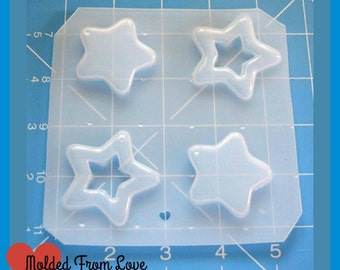 SALE 2 kawaii Open Stars 2 Kawaii Stars handmade  Plastic Resin Mold