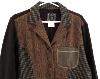 Vintage patchwork jacket Patchwork JouJou arty and artistic jacket Women's Size Large Sz L Weekend casual jacket Patchwork tweed jacket