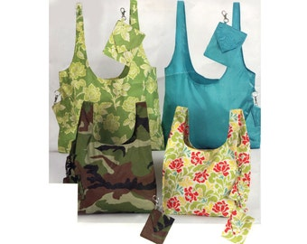 Easy Shopping Bags Pattern Tote Bags Detachable Wallet Purse 2 Styles Carry All Market Shoulder Bag Simplicity 2402 Sewing Pattern