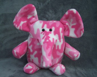 Pink and White Elephant Handmade Toy Plushie
