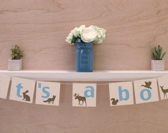 "Forest Animal Its A Boy Banner - Baby Shower Sign or Photo Prop - Custom Colors - 4"" Pennants"