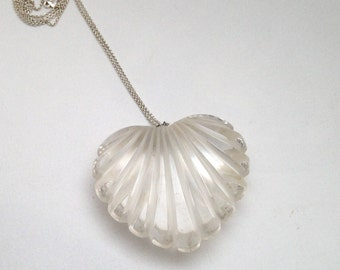 Whole Lotta Love Clear Lucite Grooved Heart XL Pendant Long Silver Chain 1970's