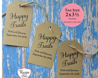 Gift tags, Retirement Favor Tag, Happy Trails, Retirement Party Favor Tags, Thank you tags, Personalized tags, Favor gift bag tag 20-500