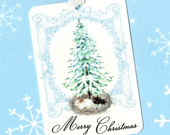 Christmas, Gift Tags, Merry Christmas, Rabbit, Shabby Chic Style