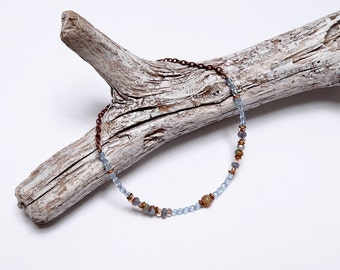 Baby Blue Anklet, Beaded Ankle Bracelet, Summer Fashion, Ankle Jewelry