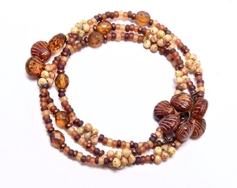 Beaded Boho Wrap, Beach, Beaded Necklace, Earth Tones, Layer and Stack Jewelry, Casual Necklace