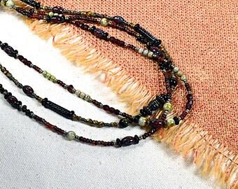 Set of Three.. Picasso Garnet Mix, Boho Beaded Necklace, Bracelet Wraps