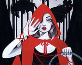 """FIRST 10 PRINTS """"Red"""" Little Red Riding Hood 11x14 Fine Art Print by Leilani Joy + Fairytale Prize Pack!"""