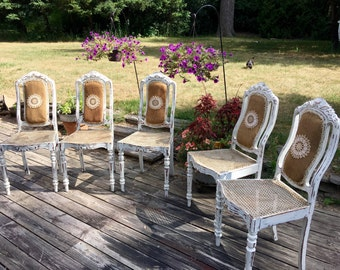 French Cane Burlap Chairs