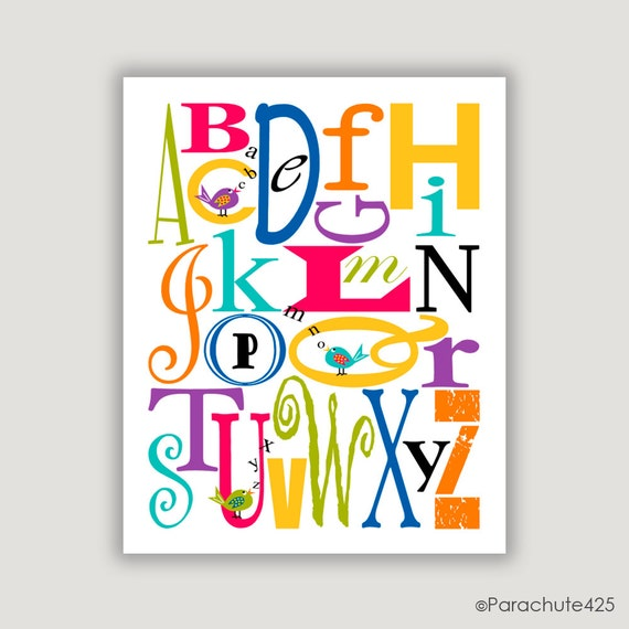 Alphabet Print, Colorful Nursery Art, Nursery Wall Art, ABC Birds, childrens art, bright colors, typography, colorful home decor, baby decor