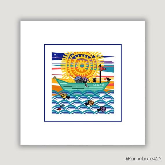 Beach Decor Print, beach house decor, nautical art, cabin decor, beach wall art, sea art, sunset art, digital illustration, The S S Peace