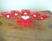 Red Wooden Candleholder from Sweden