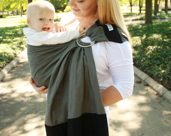 Linen Banded Ring Sling Baby Carrier Baby Sling - Gray & Black - Instructional DVD Included -Conforms To Your Baby's Shape At All Stages