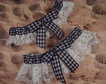 Black Gingham Check White Lace Wedding Garter Bridal Toss Set