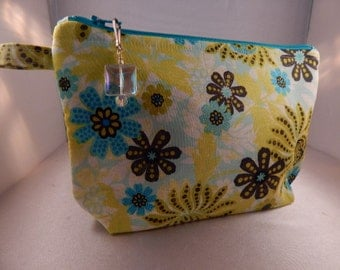 Turquoise Chartreuse Yellow Flowers Zipper Pull Ready to Ship Makeup Cosmetic Organizer Bag