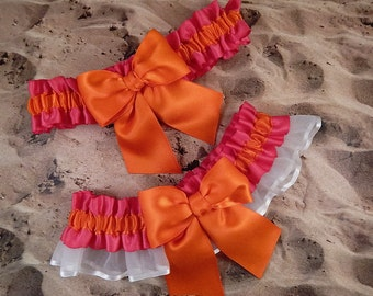 Hot Pink Fuchsia Satin Orange Satin Bow White Organza Wedding Bridal Garter Toss Set