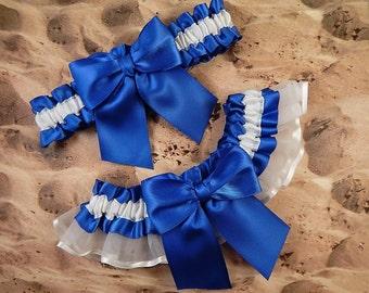 Royal Blue Satin White Satin Organza Wedding Bridal Garter Toss Set