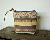 IKAT tribal canvas Pouch clutch Zipper purse makeup bag gusset  leather trim- READY