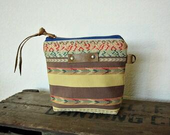 IKAT tribal canvas Pouch clutch Zipper purse makeup bag gusset  leather trim- READY