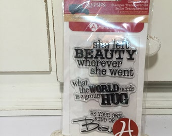 Clear Rubber Stamp Set by 7gypsies Craft Supplies Cardmaking Supplies She Left Beauty Wherever She Went, 3 Clear Stamps