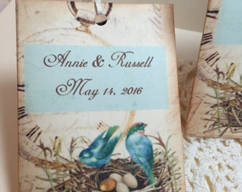 Wedding Favor Tags...Bird Nest Personalized Gift Tags..Name and Date..........Set of 12