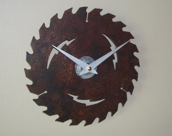 Saw Blade Wall Clock, Industrial Home Decor, Rustic Wall Clock, Clock for Garage, Man Cave Clock - 2160