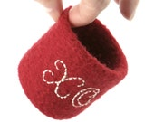 Felt Ring Bowl Valentine Red Felted Embroidered XO Hugs & Kisses Knitted Container Embroidery Teen Girl Sweetheart Best Friend Gift Idea