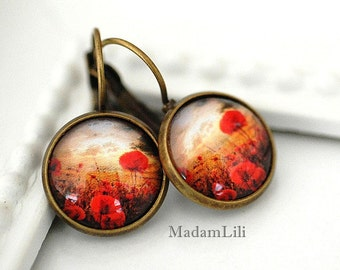 Poppy field II Earrings in Vintage Style