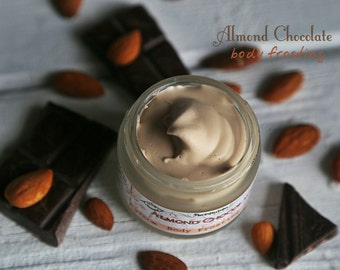 Almond Chocolate Body Frosting. Yummy Body Butter with French Cocoa. Vegan. With Shea and Coconut oil
