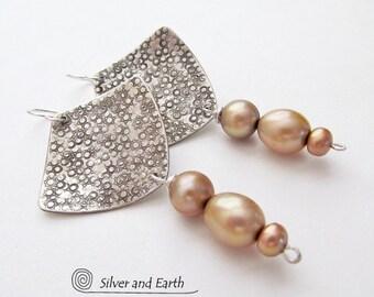 Sterling Silver Earrings, Gold Pearl Dangle Earrings, Handmade Artisan Silver Jewelry, Pearl Anniversary, Gift for Her, Pearl Earrings
