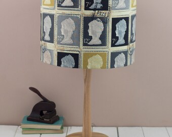 40cm Grey Stamp Lampshade, vintage travel collection in charcoal grey, yellow, black and gold, pendant shade, ceiling shade,
