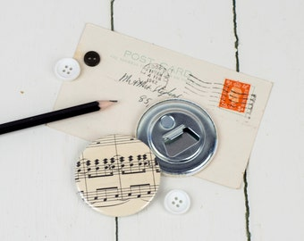 Music Bottle Opener, vintage sheet music, magnetic, stocking filler, small Christmas gift for man, music lover, classical, notes, gadget