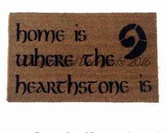 Home is where the hearthstone is doormat warcraft geek nerd gamer
