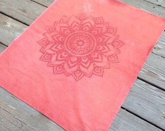 Unfinished 100% Cotton Pumpkin Spice BoHo Mandala Discharge Dyed Fabric Piece