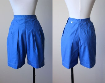 50s Shorts - Vintage 1950s Pinup Shorts - Blue Sailcloth High-Waisted Bombshell Cotton Shorts XS - Miss Pat Shorts