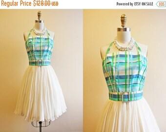 ON SALE 60s Dress - Vintage 1960s Dress - Aqua Plaid Silk Chiffon Halter Party Prom Dress XS - On a Lark