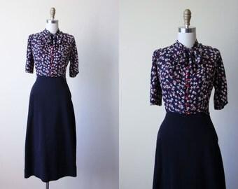 1940s Dress - Vintage 40s Dress - Navy Red White Rayon Floral Print Wool Gabardine w Ascot Bow Swing Dress M - Trois Fleurs Dress