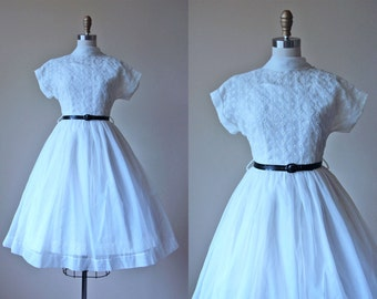 50s Dress - Vintage 1950s Dress - Sheer Ivory White Embroidered Roses Eyelet Sundress + Slip Set S - Crystal Palace Dress