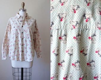 1980s Novelty Print Top - 80s Vintage Blouse - Amazing Bad Ass Female Pilot Cotton Oxford Button Shirt - Forenza Shirt